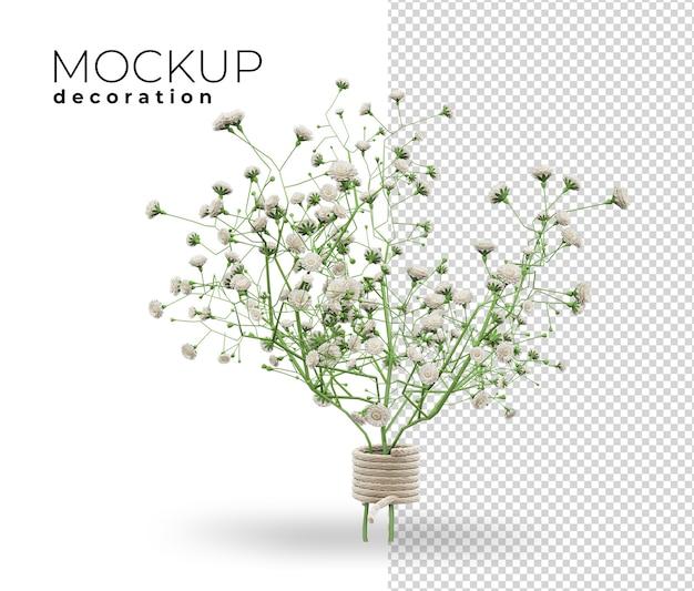 家の3dレンダリングのための花の装飾のクローズアップ