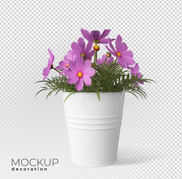 냄비 인테리어 3d 모형에 꽃에 가까이
