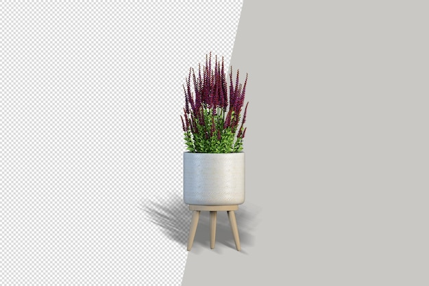 ポットインテリア3dモックアップの花にクローズアップ