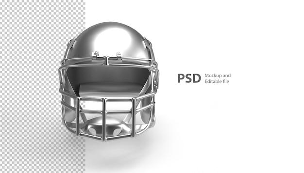3dレンダリングで分離されたフットボール用ヘルメットのクローズアップ
