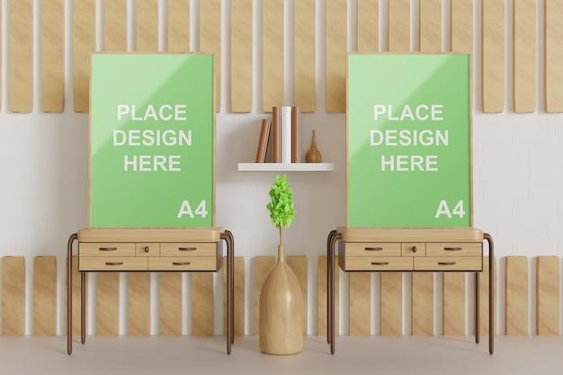 Крупным планом на макете рамы, стоящей на деревянном столе, вид спереди Premium Psd