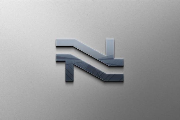 Крупным планом на глянцевом 3d-макете логотипа