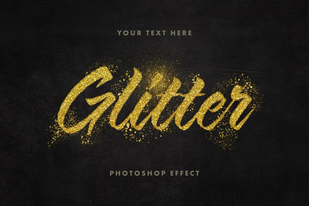 Крупным планом на шаблон текстового эффекта золотой блеск