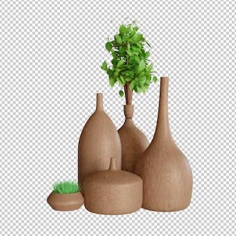 Крупным планом на группу украшения вазы и растений