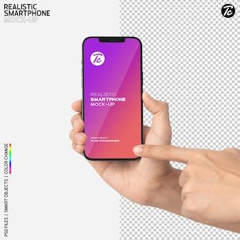 스마트 폰 모형 디자인을 사용하여 손에 가까이