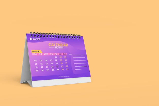 Крупным планом на высококачественном спиральном макете календаря