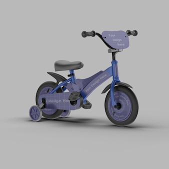 分離された子供の自転車モックアップのクローズアップ