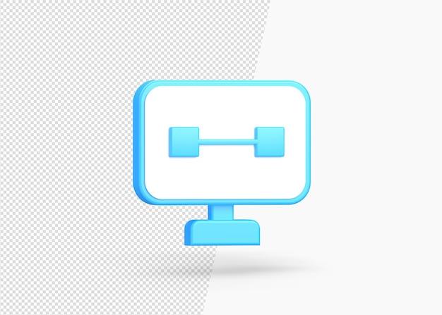 モニターの孤立した3dアイコンのオンラインでクローズアップ