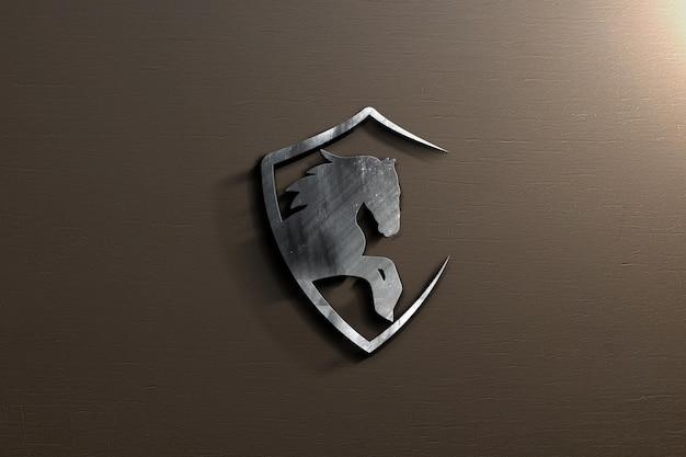 벽에 로고 모형 디자인에 가까이