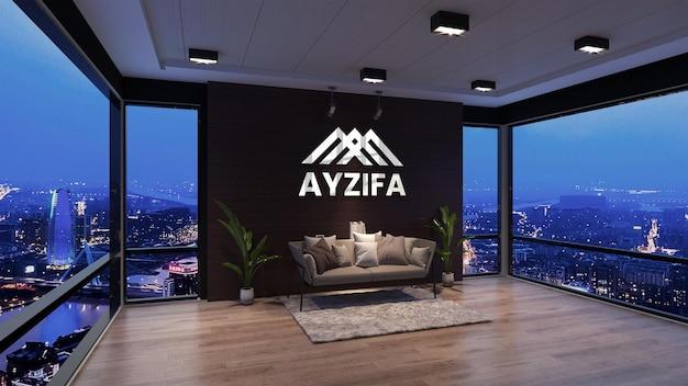 Крупным планом на макете логотипа в дизайне интерьера зала ожидания офиса