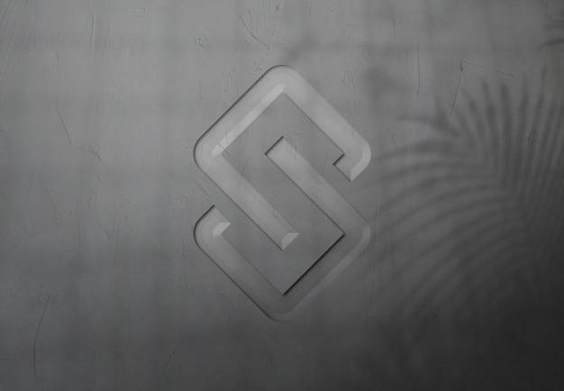 벽 디자인의 로고 모형에 가까이