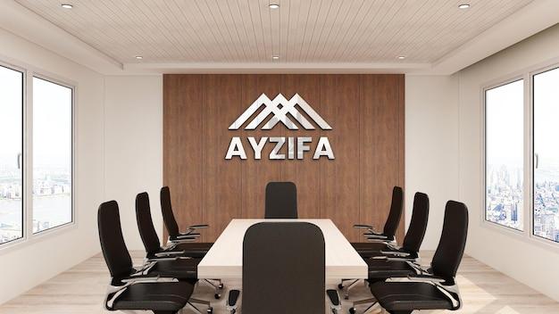 Закройте на офисе макета логотипа в конференц-зале с деревянным дизайном интерьера
