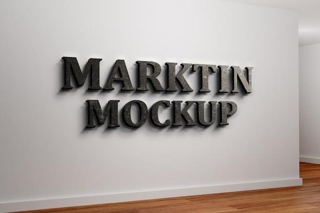 Крупным планом на логотипе на стене макета фронт-офиса