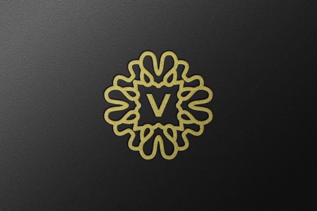 Крупный план роскошного макета золотого логотипа с тиснением