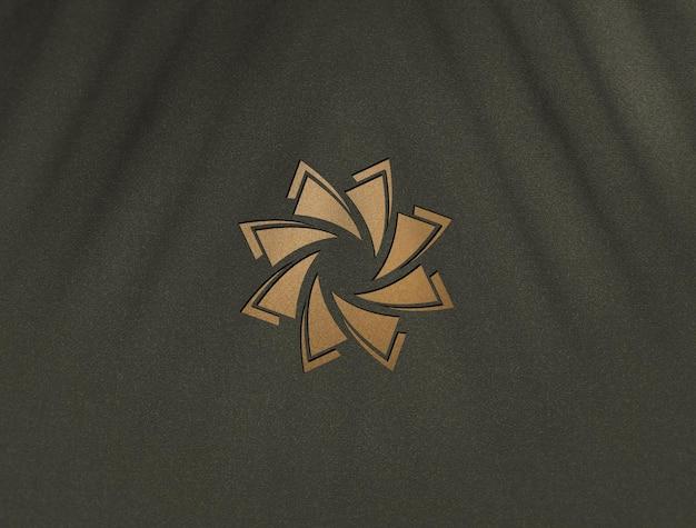 럭셔리 황금 로고 모형 디자인에 가까이