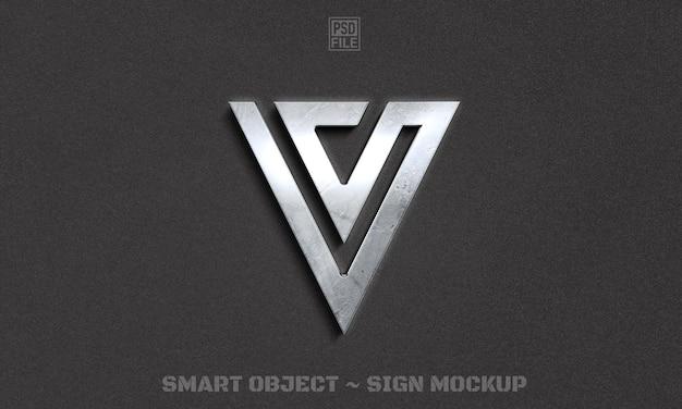 金属の質感を持つ豪華なロゴのモックアップデザインをクローズアップ