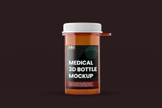 Крупным планом на изолированном макете медицинской бутылки