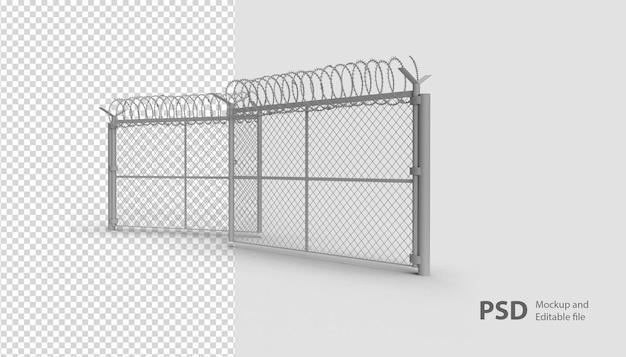 Крупным планом на военном заборе в 3d-рендеринге изолированы