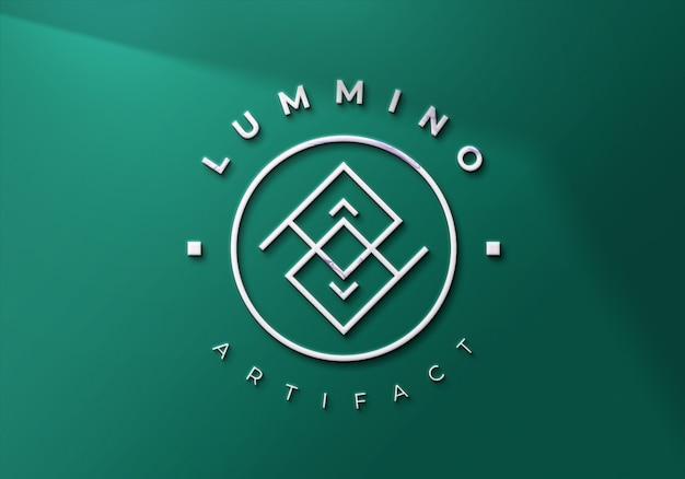 Крупным планом на современный 3d макет логотипа на стене