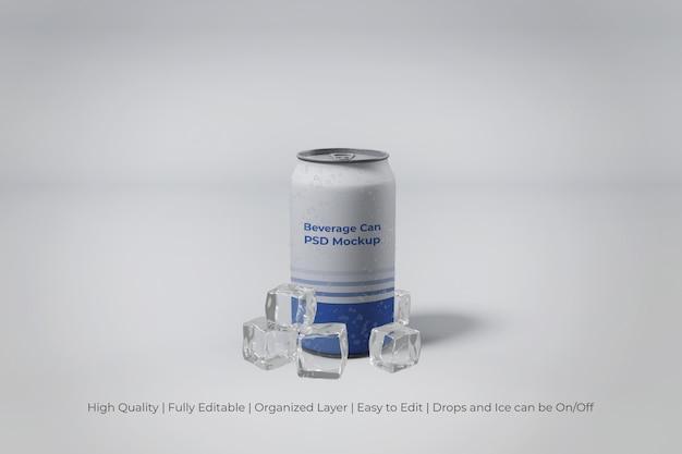 Крупным планом на современной алюминиевой банке содовой со льдом