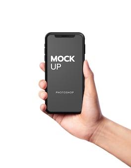 現代のモバイルモックアップにクローズアップ