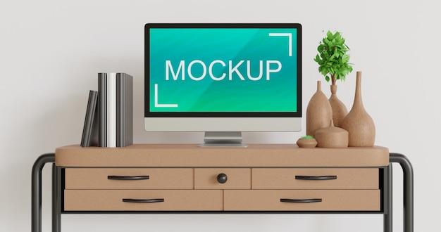 Крупным планом на макете монитора на рабочем столе