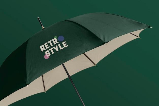 開いた傘のモックアップをクローズアップ