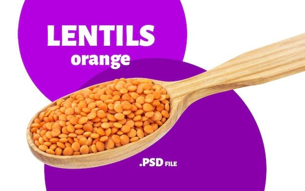 Крупным планом на оранжевой чечевице в изолированной ложке Premium Psd