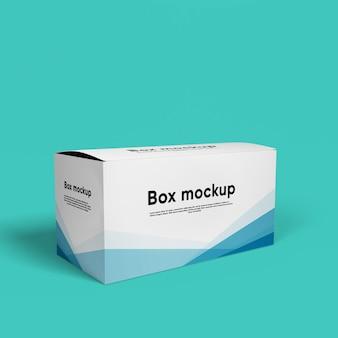 分離されたパッケージボックスモックアップのクローズアップ