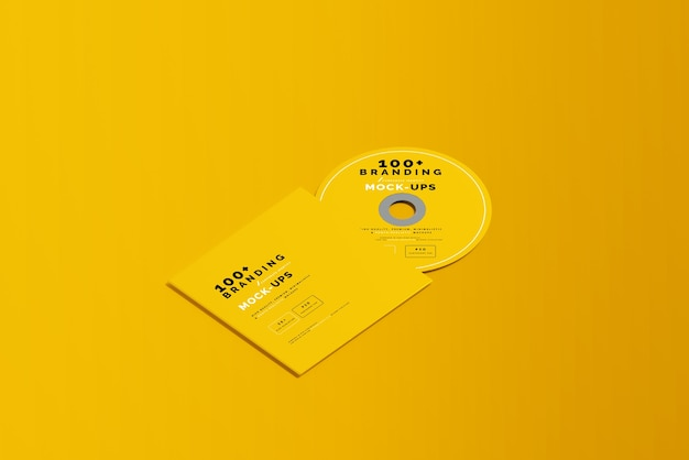 Cdディスクとスリーブモックアップのパッケージングのクローズアップ