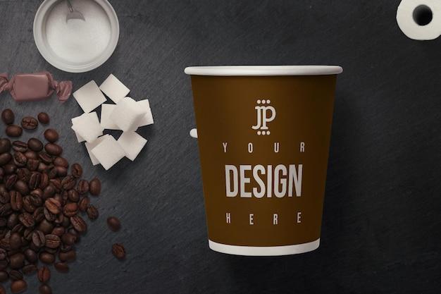 종이 컵 모형 디자인에 가까이