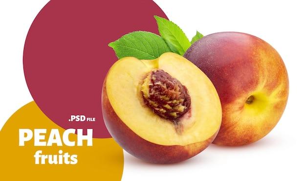Крупным планом на персики изолированные