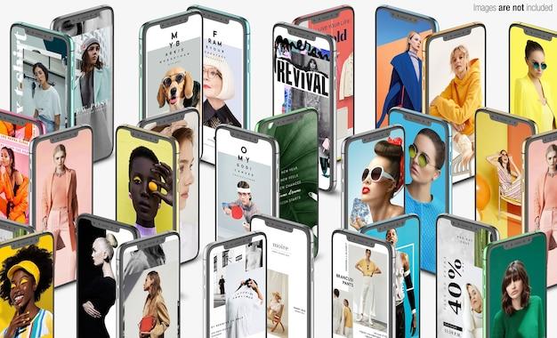 Крупным планом на макете сцены коллекции телефона