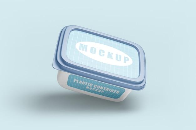 プラスチック製の食品容器のモックアップにクローズアップ