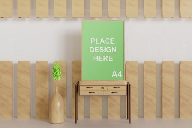Крупным планом на макете рамки плаката шлифованием на деревянном столе