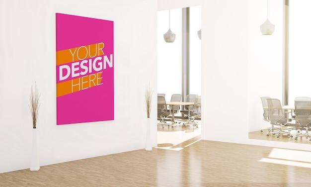 Крупным планом на макете плаката в офисном зале