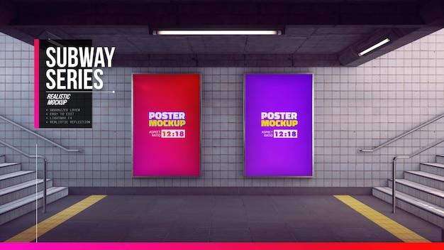 地下鉄の入り口のポスターのモックアップをクローズアップ
