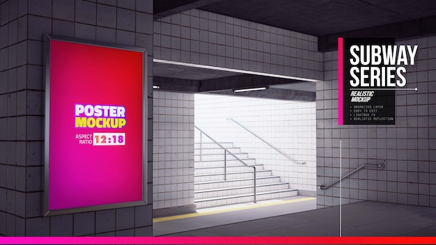 地下鉄の柱のポスターモックアップをクローズアップ