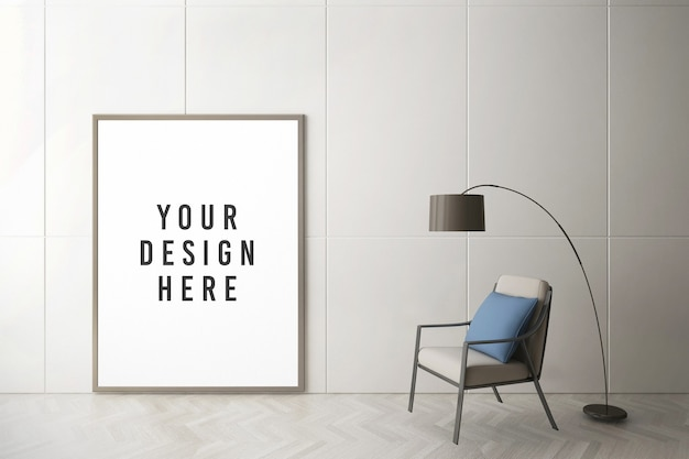 포스터 또는 사진 프레임 모형에 가까이