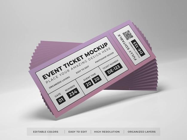 現実的なイベントチケットのモックアップのクローズアップ