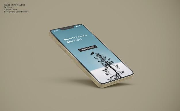 現実的なスマートフォンのモックアップをクローズアップ