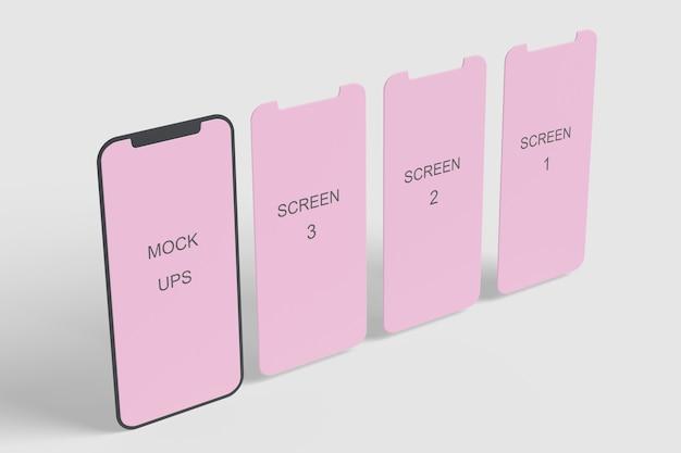 Макет телефона крупным планом на изолированном экране