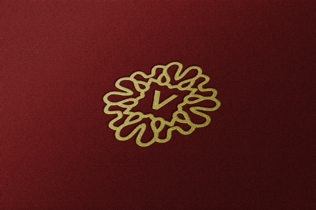 Крупным планом на простой роскошный макет золотого логотипа с тиснением