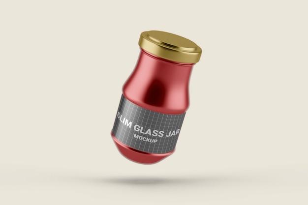 ふた付きのスリムなガラス瓶のモックアップにクローズアップ