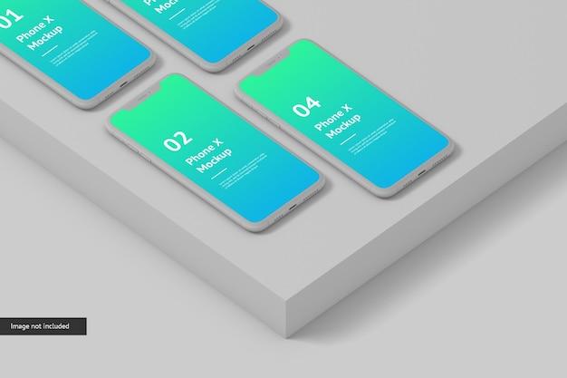 スマートフォンの画面のモックアップをクローズアップ Premium Psd