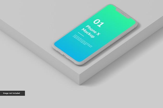 スマートフォンの画面のモックアップをクローズアップ
