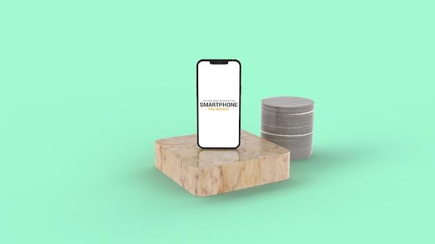 Закройте на смартфоне на макете мраморного подиума