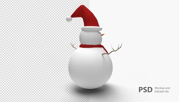 孤立した雪だるまのクリスマスにクローズアップ