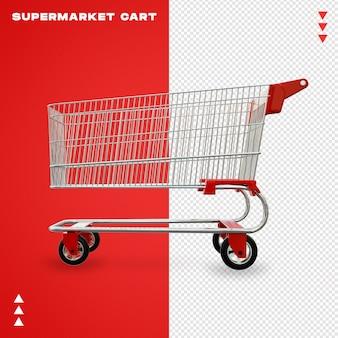 スーパーマーケットのカートの3 dレンダリングにクローズアップ