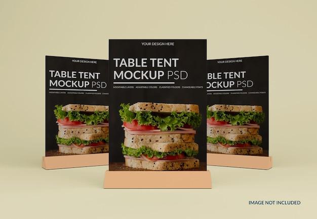 分離されたテーブル テント モックアップをクローズ アップ